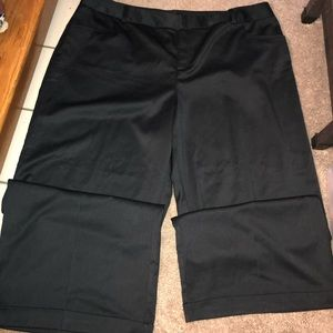 Wide legged black slacks